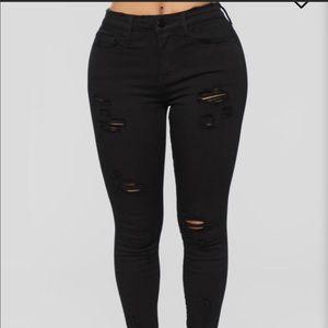 Fashion Nova Ripped Black Skinny Jeans